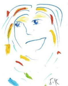 ציור של איל. עם הפנים קדימה