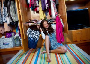 a closet of a teenager. shutterstock