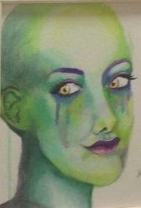 """""""האישה הירוקה"""". אחד הציורים של מ.צ"""
